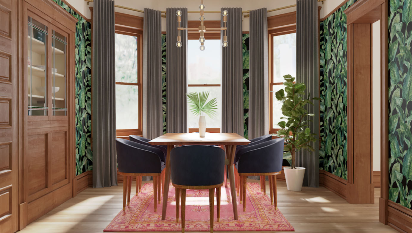 A Contemporary Eclectic Dining Room Featuring Dynamite Wallpaper 3D Renderings Powered By Decorist